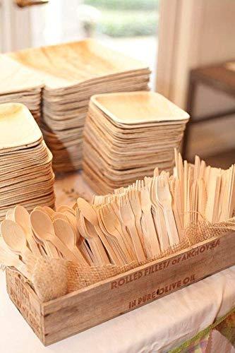 Juego de cubiertos desechables de madera – Pack de 20 juegos enteros