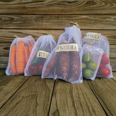 Set de 5 bolsas para frutas y verduras – ECO-LÓGICA