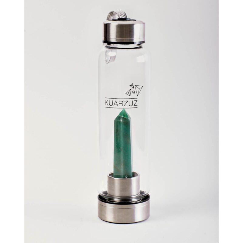 Botella con cuarzo Aventurina – Estabilidad, tranquilidad y comprensión – Kuarzuz