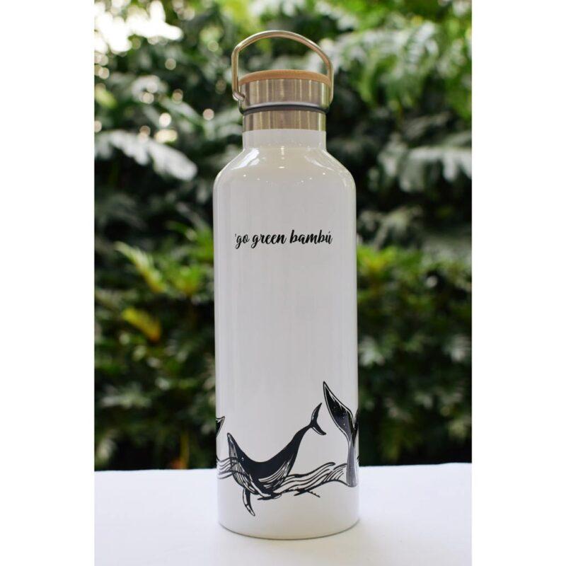 Botella de Acero Inoxidable – Blanca – Go Green Bambú