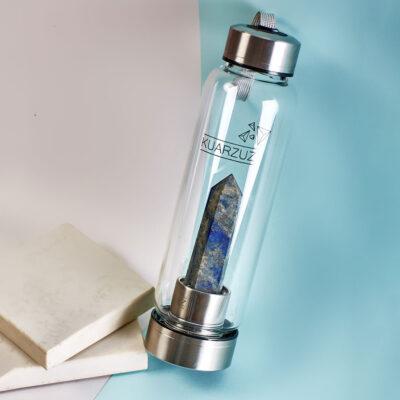 Botella con cuarzo Lapislázuli – Paz, equilibrio y armonía – Kuarzuz
