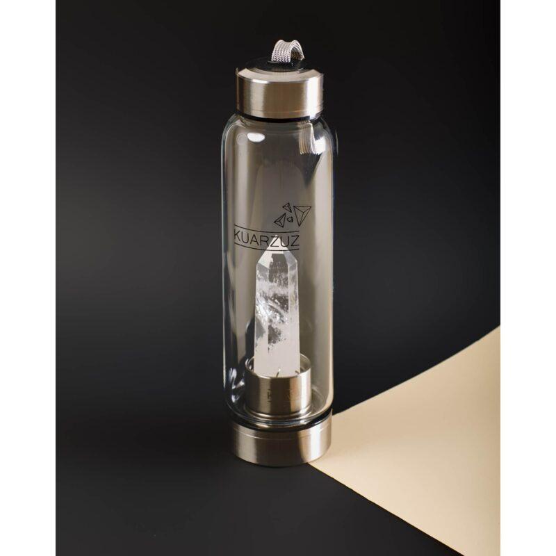Botella con cuarzo Cristal – Positivismo, serenidad y suerte – Kuarzuz