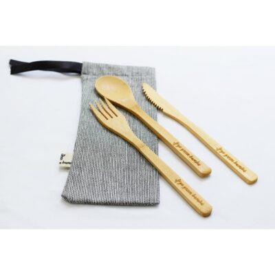 Set de Tenedor, Cubierto y Cuchara de Bambú – Go Green Bambú