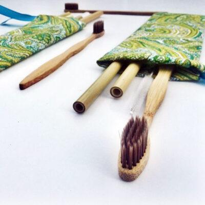 Kit de Cepillo dental, Pajillas, Hisopo y Estuche de Tela – Go Green Bambú