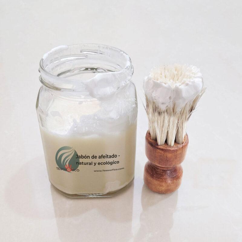 Kit Jabón de afeitado sólido grande + Brocha – hombre y mujer – natural y ecológico – 125g