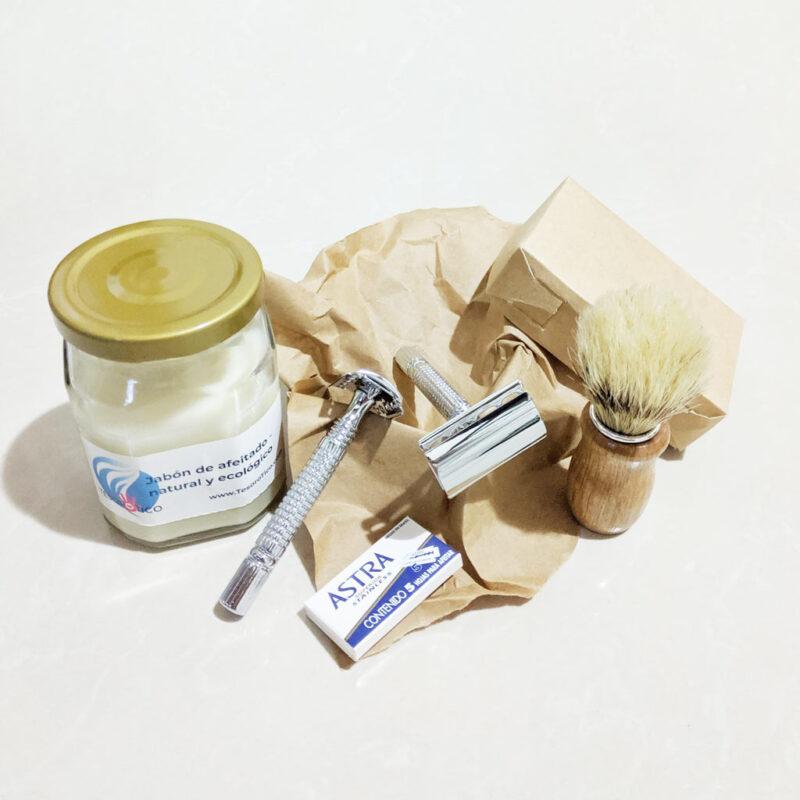 Gran kit de afeitar – Mujer y Hombre – Rasuradora Clásica Cuchillas Doble – 5 navajillas – jabón y brocha