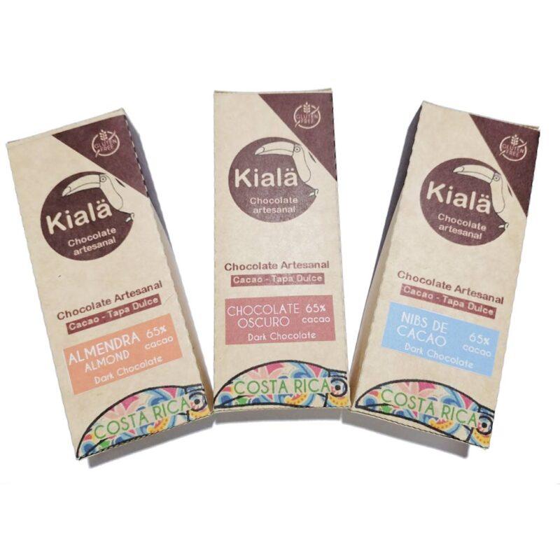 Chocolates Artesanales con Tapa Dulce 65% de cacao – sin Gluten – 3 Sabores – Kialä