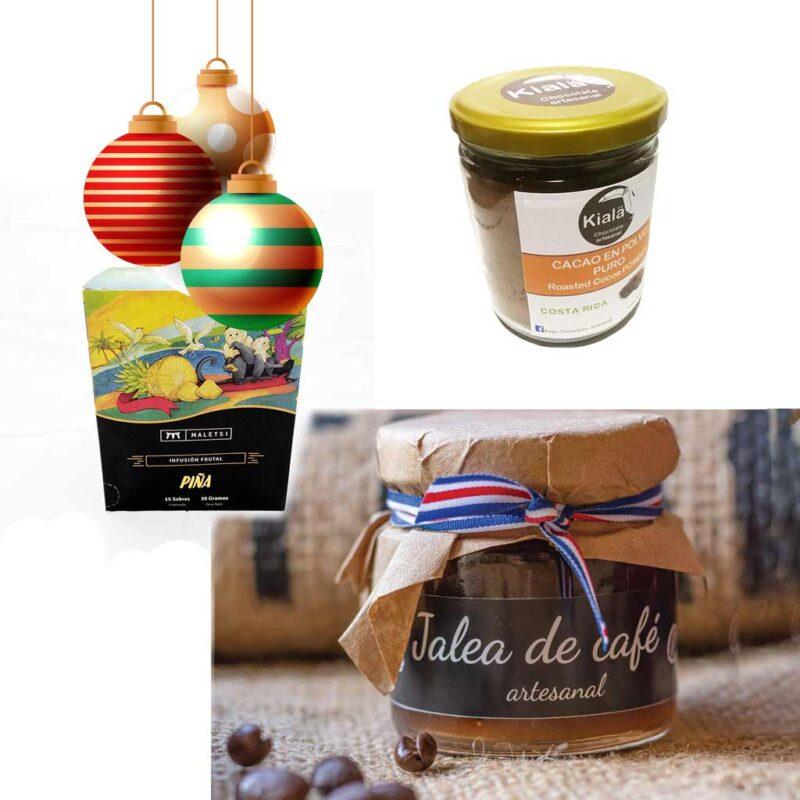 Kit Comestibles Joyas de Costa Rica – Navidad – Jalea de Café grande, Cacao dulce, Té de infusión