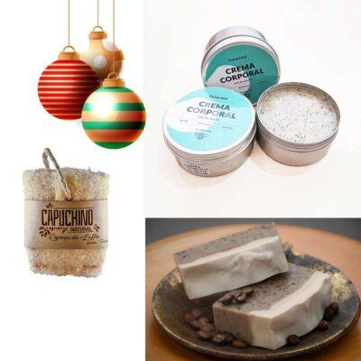 Kit Belleza – Navidad – Estuche baño, exfoliante mega grande, Jabón artesanal