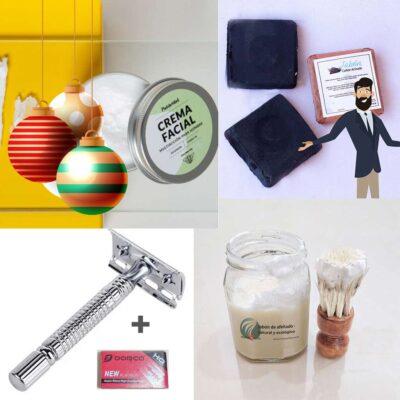 Kit Hombre – Navidad – Rasuradora, Brocha, Jabon afeitar, Navajillas, Crema facial, Jabon Carbon activo