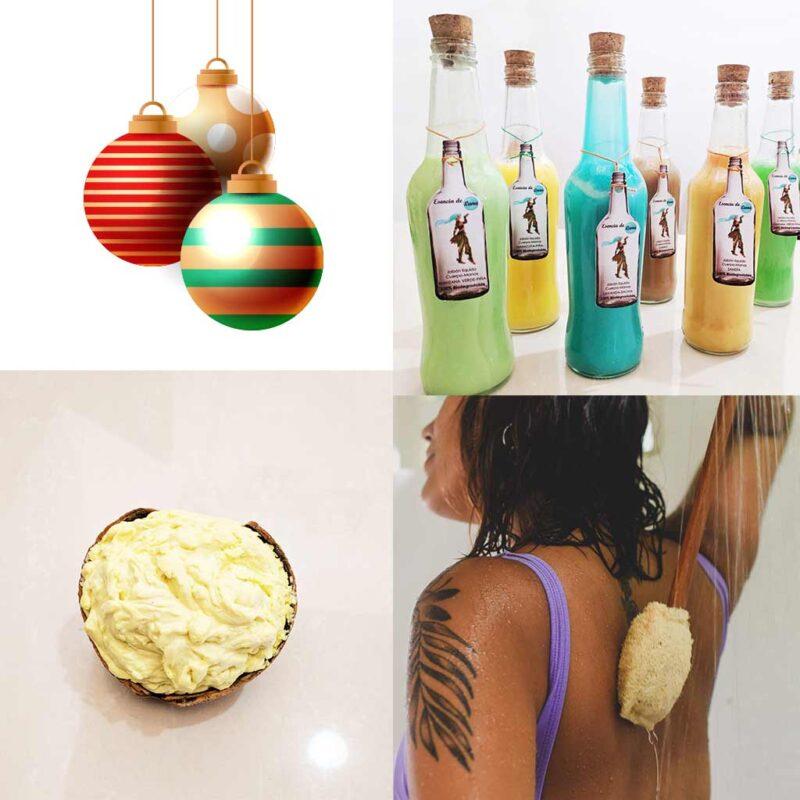 Kit Cuerpo y Casa – Navidad – Jabón corporal, Luffa de Espalda, Jabón lavaplato
