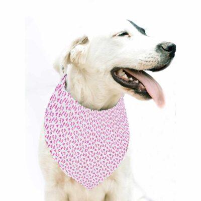 Bandana para Perro, tamaño Pequeño / Mediano – Rosada  – 100% Algodón