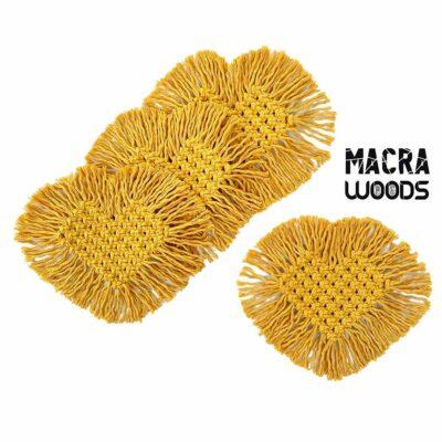Posavasos de corazón mostaza – 100% algodón – MacraWoods