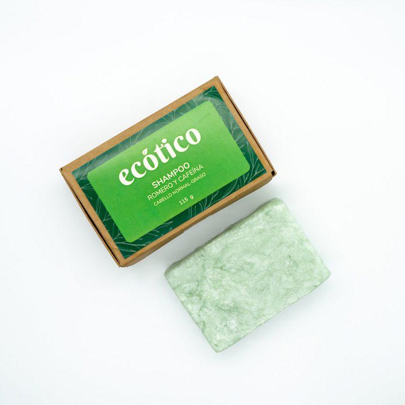 Shampoo sólido de romero y cafeína – Cabello normal a graso – 115g – Ecótico