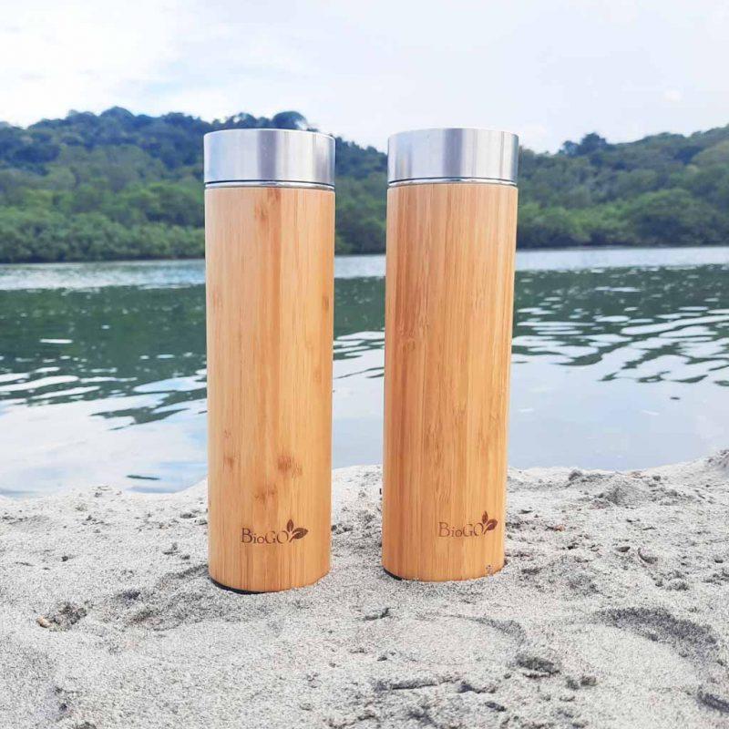 Botella Térmica de Bambú con Infusor – 550ml – BioGo