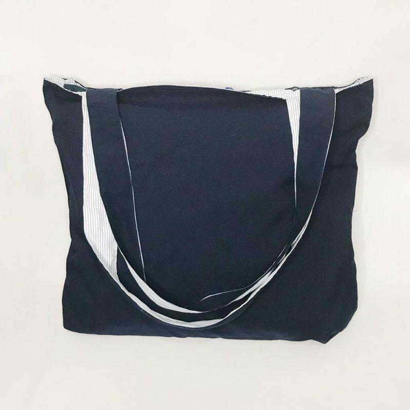 Bolso Reversible – Azul Oscuro – 100% Algodón – para Compras, Playa y más