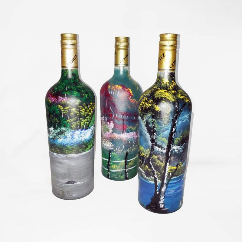 Botellas de Vidrio Pintadas a Mano