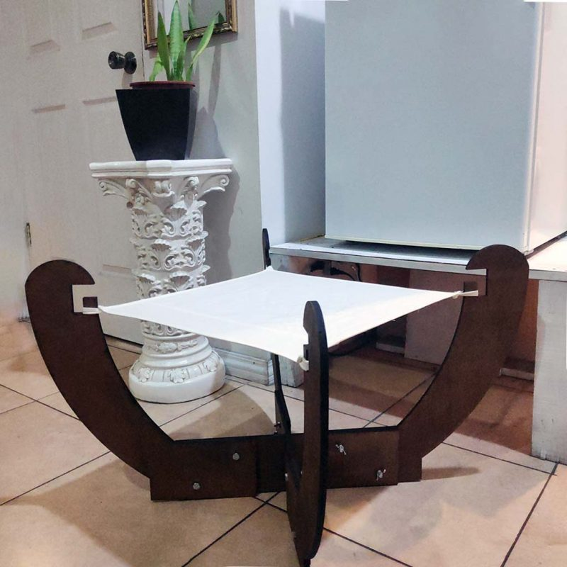 Cama Hamaca para Gatos – 62cm x 62cm plegable – Madera y Algodón