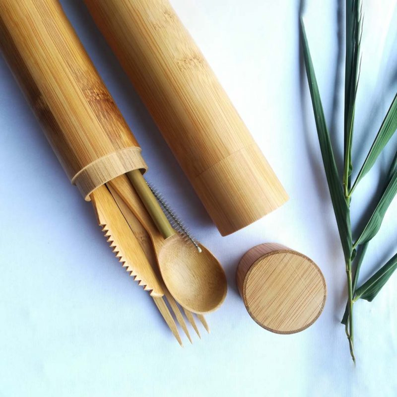 Tubo grande de bambú con cubiertos, palillos chinos, pajilla y limpiador – BioGo